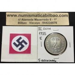 GERMANY 5 REICHSMARK 1935 E HINDENBURG SILVER NAZI WWII