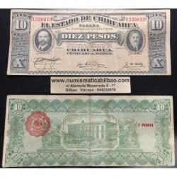 @OFERTA@ MEXICO 10 PESOS 1915 ESTADO DE CHIHUAHUA REVOLUCION Pick S535 BILLETE MBC+ Mejico banknote