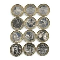 . SUIZA 10 FRANCOS 2004 al 2015 B 12 monedas BIMETALICAS SC