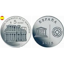 . ESPAÑA 5 EUROS 2015 PLATA FNMT UNESCO MERIDA SET