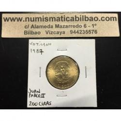 VATICANO 200 LIRAS 1987 JUAN PABLO II VIRGEN CON NIÑO KM.203 MONEDA DE LATON SC Vatican 200 Lire