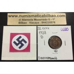 ALEMANIA 1 REICHSPFENNIG 1938 D ESVASTICA NAZI III REICH MONEDA DE COBRE @LUJO@ 2