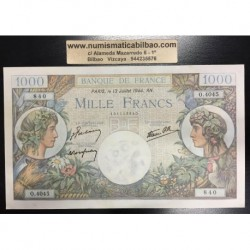 FRANCIA 1000 FRANCOS 1944 MERCURY Pick 96C BILLETE SC France Francs UNC BANKNOTE