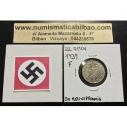ALEMANIA 50 REICHSPFENNIG 1939 F ESVASTICA NAZI III REICH MONEDA DE NICKEL @LUJO@