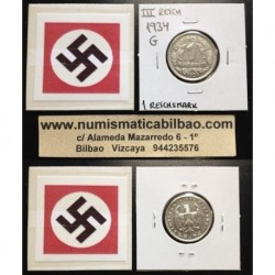 GERMANY DRITTES REICH 1 REICHSMARK 1934 G NICKEL XF