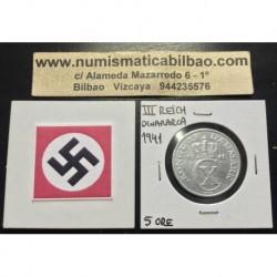 DINAMARCA 5 ORE 1941 CX BAJO CORONA KM.834 MONEDA DE ALUMINIO OCUPACION NAZI III REICH WWII Denmark