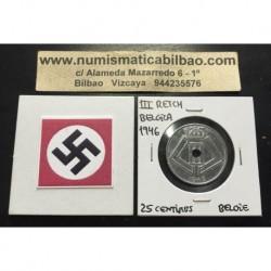 BELGICA 25 CENTIMOS 1946 ESCUDOS BELGIE KM.132 MONEDA DE ZINC OCUPACION NAZI III REICH WWII Belgium centimes