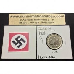 ALEMANIA 1 MARCO 1937 G AGUILA NAZI III REICH MONEDA DE NICKEL REICHSMARK SC- 1