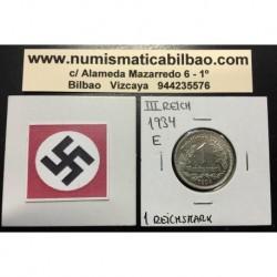 ALEMANIA 1 MARCO 1934 E AGUILA NAZI III REICH MONEDA DE NICKEL REICHSMARK EBC+