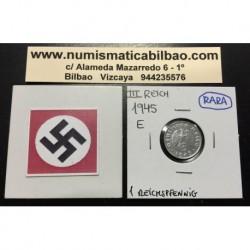ALEMANIA 1 REICHSPFENNIG 1945 E ESVASTICA NAZI III REICH MONEDA DE ZINC @MUY RARA@