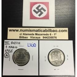 ALEMANIA 1 MARCO 1935 A AGUILA NAZI III REICH MONEDA DE NICKEL REICHSMARK @LUJO@