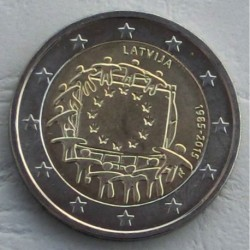 . .2 EUROS 2015 BANDERA EUROPEA LETONIA SC Moneda Coin