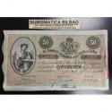 . 50 PESOS 1896 BANCO ESPAÑOL DE LA ISLA DE CUBA Nº51154 PLATA