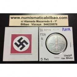 ALEMANIA 5 MARCOS 1934 D IGLESIA DE POSTDAM CON FECHAS MONEDA NAZI DE PLATA DEL III REICH 5 Reichsmark 1