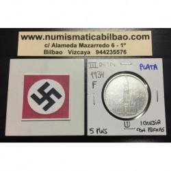 ALEMANIA 5 MARCOS 1934 F IGLESIA DE POSTDAM CON FECHAS MONEDA NAZI DE PLATA DEL III REICH 5 Reichsmark 1