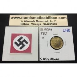 ALEMANIA 5 REICHSPFENNIG 1939 D ESVASTICA NAZI III REICH @LUJO@