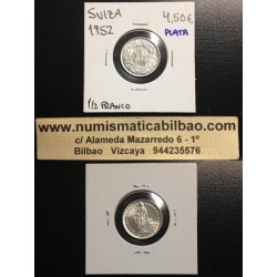 SUIZA 1/2 FRANCO 1952 B PLATA SC KM*23 Switzerland Silver Franc