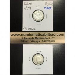 SUIZA 1/2 FRANCO 1909 B PLATA SC KM*23 Switzerland Silver Franc