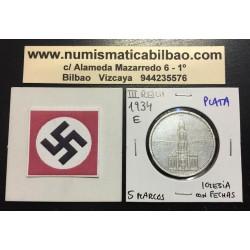 ALEMANIA 5 MARCOS 1934 E IGLESIA DE POSTDAM CON FECHAS MONEDA NAZI DE PLATA DEL III REICH 5 Reichsmark