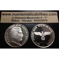 ALEMANIA III REICH MEDALLA NAZI CON VALOR 5 REICHSMARK 1899 - 1945 BUSTO DE ADOLF HITLER @MONEDA RARA@ Marcos