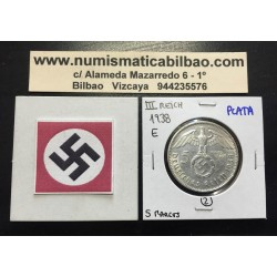 ALEMANIA 5 MARCOS ESVASTICA NAZI 1938 E PLATA III REICH RARA