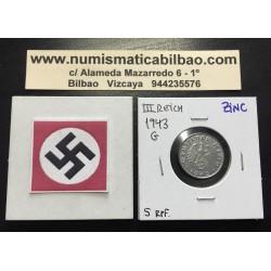 ALEMANIA 5 REICHSPFENNIG 1943 G ESVASTICA NAZI III REICH MONEDA DE ZINC @RARA@