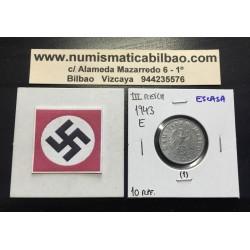 ALEMANIA 10 REICHSPFENNIG 1943 E ESVASTICA NAZI III REICH MONEDA DE ZINC @RARA@ 1