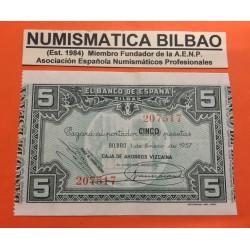 BILBAO EUSKADI 5 PESETAS 1937 CAJA DE AHORROS VIZCAINA BILLETE SC- EUZKADI PICK S.561