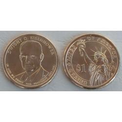 ESTADOS UNIDOS 1 DOLAR 2015 P PRESIDENTE 34 DWIGHT D. EISENHOWER MONEDA DE LATON SC USA $1 Dollar Presidential coin