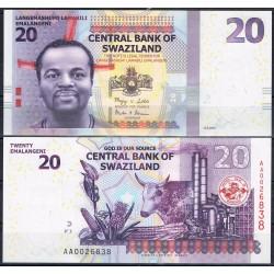 SWAZILANDIA 20 EMALANGENI 2010 REY y VACA Pick 37 BILLETE SC AFRICA UNC BANKONTE