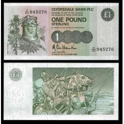 ESCOCIA 1 LIBRA 1988 CLYDESDALE BANK ROBERT THE BRUCE PICK 211D BILLETE SC SCOTLAND POUND UNC BANKNOTE