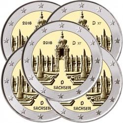 ALEMANIA 2 EUROS 2016 A+D+F+G+J IGLESIA DE SAJONIA SACHSEN SC 5 MONEDAS CONMEMORATIVAS COIN GERMANY