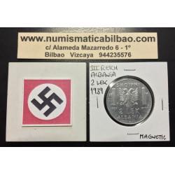 ALBANIA 2 LEK 1939 VITTORIO EMANUELLE III NAZI III REICH WWII