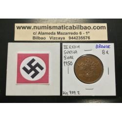 SUECIA 5 ORE 1950 CORONAS KM.779.2 MONEDA DE BRONCE OCUPACION NAZI III REICH WWII Sweden