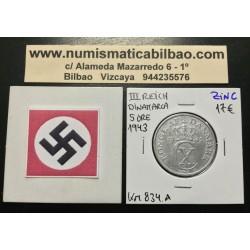 DINAMARCA 5 ORE 1943 CX BAJO CORONA KM.834A MONEDA DE ZINC OCUPACION NAZI III REICH WWII