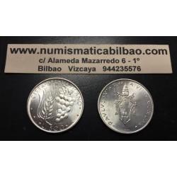 VATICANO 500 LIRAS 1975 ESCUDO DEL PAPA PABLO VI y RACIMO DE UVAS KM.123 MONEDA DE PLATA SC Silver Lire