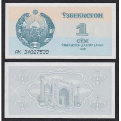 UZBEQUISTAN 1 SOM 1992 MEZQUITA PICK 61 BILLETE SC UNC BANKNOTE UZBEKISTAN 1 SUM