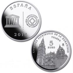 ESPAÑA FNMT 5 EUROS 2015 CIUDADES PATRIMONIO DE LA HUMANIDAD 3ª SERIE UNESCO TOLEDO PLATA ESTUCHE