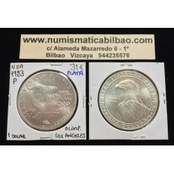 ESTADOS UNIDOS 1 DOLAR 1983 P DISCOBOLO OLIMPIADA LOS ANGELES 1984 KM.210 MONEDA DE PLATA SC USA Silver Dollar