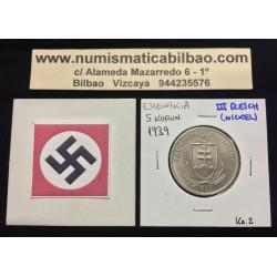 ESLOVAQUIA 5 KORUN 1939 ANDREJ HLINKA KM.2 MONEDA DE NICKEL SC- OCUPACION NAZI III REICH WWII Slovakia @RARA@