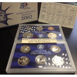 2002 UNITED STATES MINT PROOF SET 10 COINS ESTADOS UNIDOS 1+5+10+25 CENTAVOS + 1/2 DOLAR + 1 DOLAR NICKEL