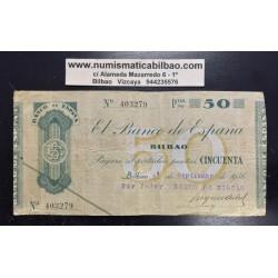 BILBAO 50 PESETAS 1936 BANCO DE BILBAO 403279 @RARO@ BILLETE TALON GOBIERNO VASCO EN EUSKADI