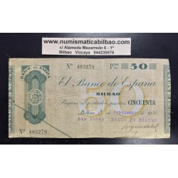 BILBAO 50 PESETAS 1936 BANCO DE BILBAO 473410 @RARO@ EUSKADI
