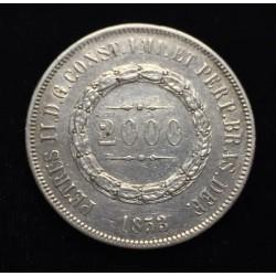 . BRASIL 2000 REIS 1869 PEDRO II PLATA SC Brazil Silver Reais