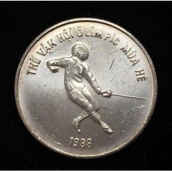 VIETNAM 100 DONG 1986 OLIMPIADA DE SEUL 88 ESGRIMA KM.24.2 MONEDA DE PLATA SC silver Fencing Seoul Olympic