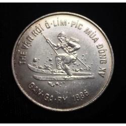 VIETNAM 100 DONG 1986 OLIMPIADA DE CALGARY 86 ESQUIADOR KM.23 MONEDA DE PLATA SC REPUBLICA SOCIALISTA Silver Skier Olympic