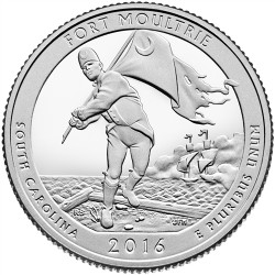 @NOVEDAD@ ESTADOS UNIDOS 25 CENTAVOS 2016 D PARQUE NACIONAL FORT MOULTRIE MONEDA DE NICKEL SC USA QUARTER SOUTH CAROLINA