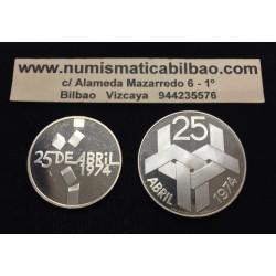 PORTUGAL 100 ESCUDOS + 250 ESCUDOS 1976 REVOLUCION 25 DE ABRIL DE 1974 KM.603 y 604 PROOF 2 MONEDAS DE PLATA