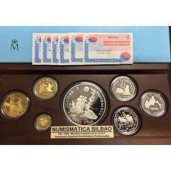 ESPAÑA CULTURA y NATURALEZA 1996 3ª SERIE 2000 + 5000 + 10000 + 20000 + 80000 PESETAS 1996 ORO y PLATA ESTUCHE FNMT