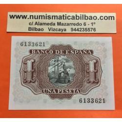 @OFERTA@ ESPAÑA 1 PESETA 1953 MARQUES DE SANTA CRUZ Sin Serie 6133621 Pick 144 BILLETE CASI SIN CIRCULAR (doblez central)